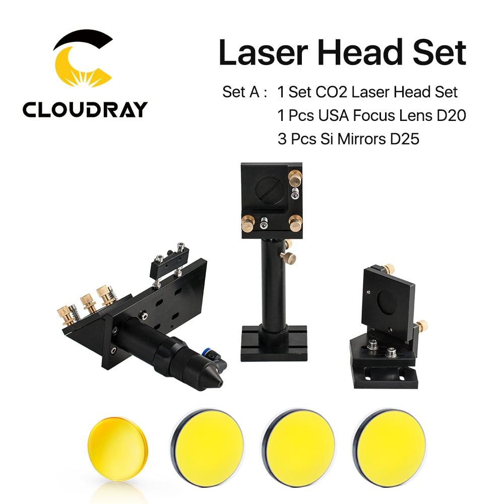 Kit de cabezales de láser de CO2 + 1 pieza Dia.20mm Lente de enfoque ZnSe + 3 piezas Dia.25m Mo / Si Espejo 25mm para máquina de corte por grabado láser