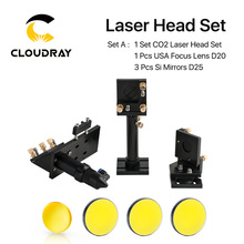 цена на CO2 Laser Head Set CO2 + Reflective Si Mirror 25mm + USA Focus Lens 20mm for Laser Engraving Cutting Machine