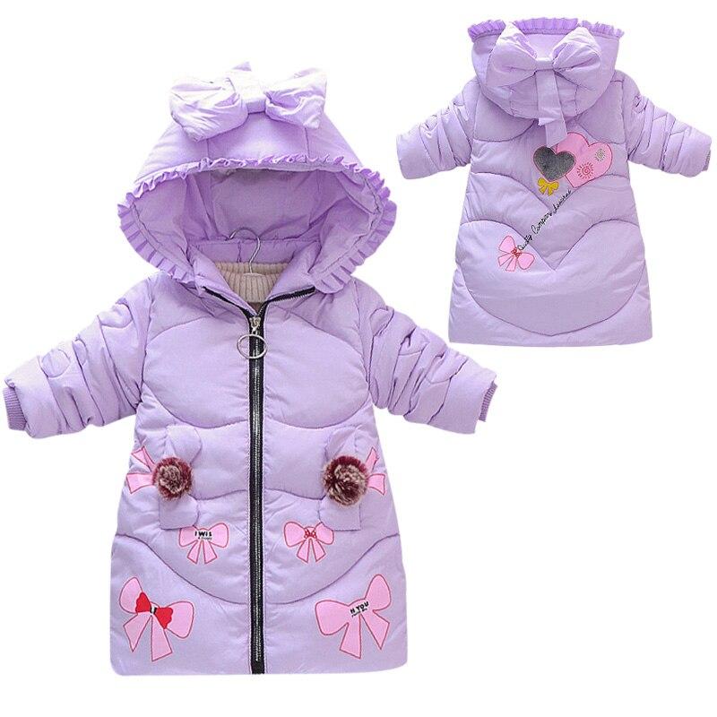 moda outono inverno criancas menina jaqueta de algodao quente criancas casaco arco impressao doce meninas algodao