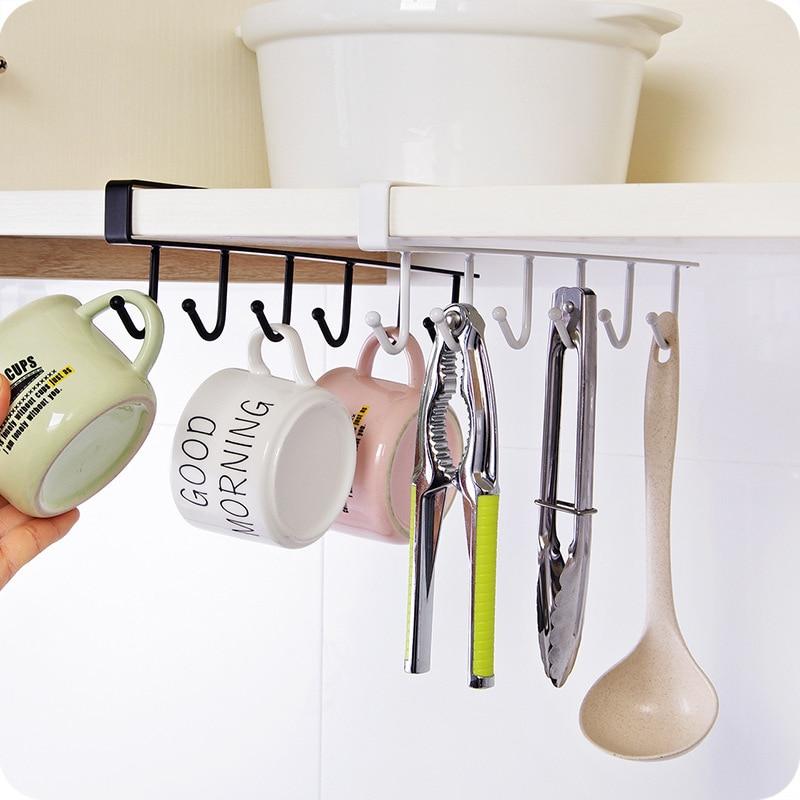 2020 Practical 6 Hooks Cup Holder Hang Kitchen Cabinet Under Shelf Storage Rack Organiser Hook Kitchen Closet Supplies TSLM1