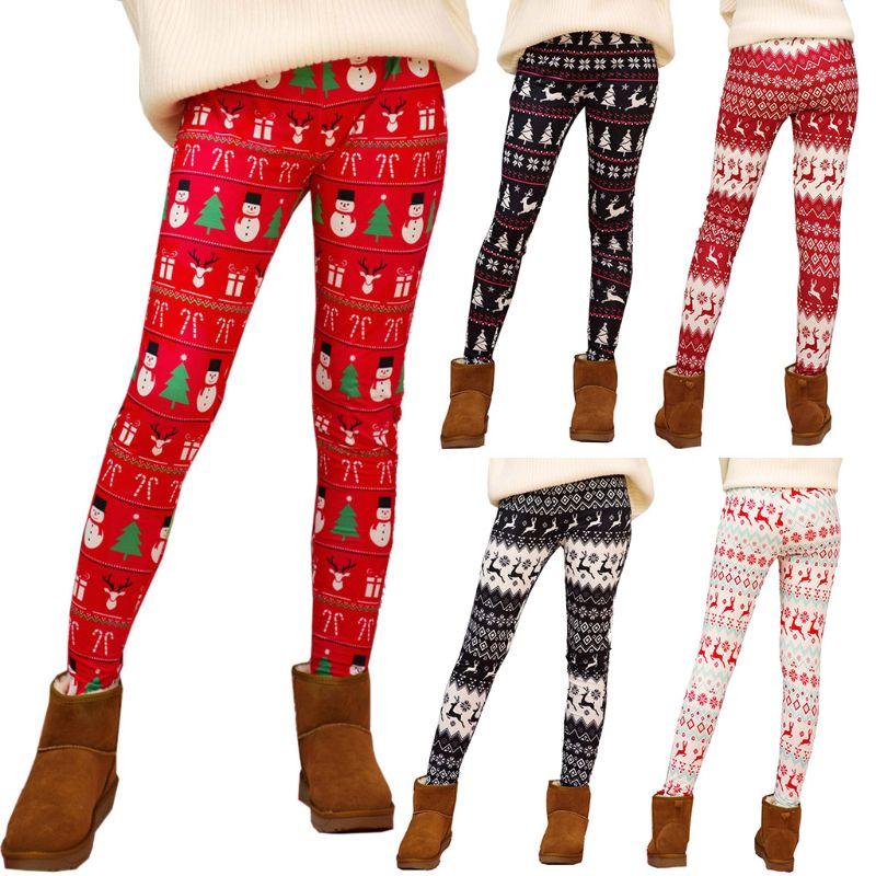 Women Xmas Snowflake Reindeer Leggings Trousers Elastic Strech Christmas Pants