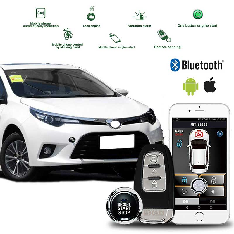 PKE Remote Engine Starter Keyless Entry Vehicle Car Clarm System With Universal Android APP Go Alarm Shock Warn Push Start Stop