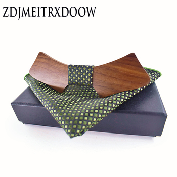 Geometric Personality Wood Bow Ties Hanky Set for Mens Wedding Suits Business Wooden Bowtie Hadkerchief Cotton