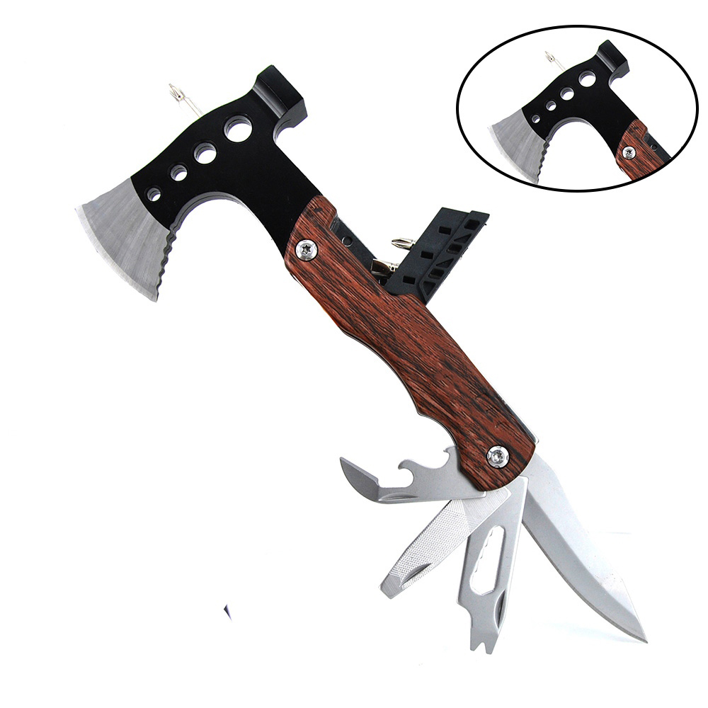 Mini Ax Portable Stainless Steel Construction Wood Inlay Handle Multitool Axe Outdoor Camping Hatchet Tool Survival Tools