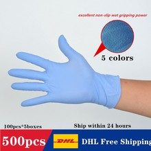 CE 500pcs DHL Free PVC Disposable Waterproof  Gloves High Elasticity SGS Food Grade Work Safety 4 Colors