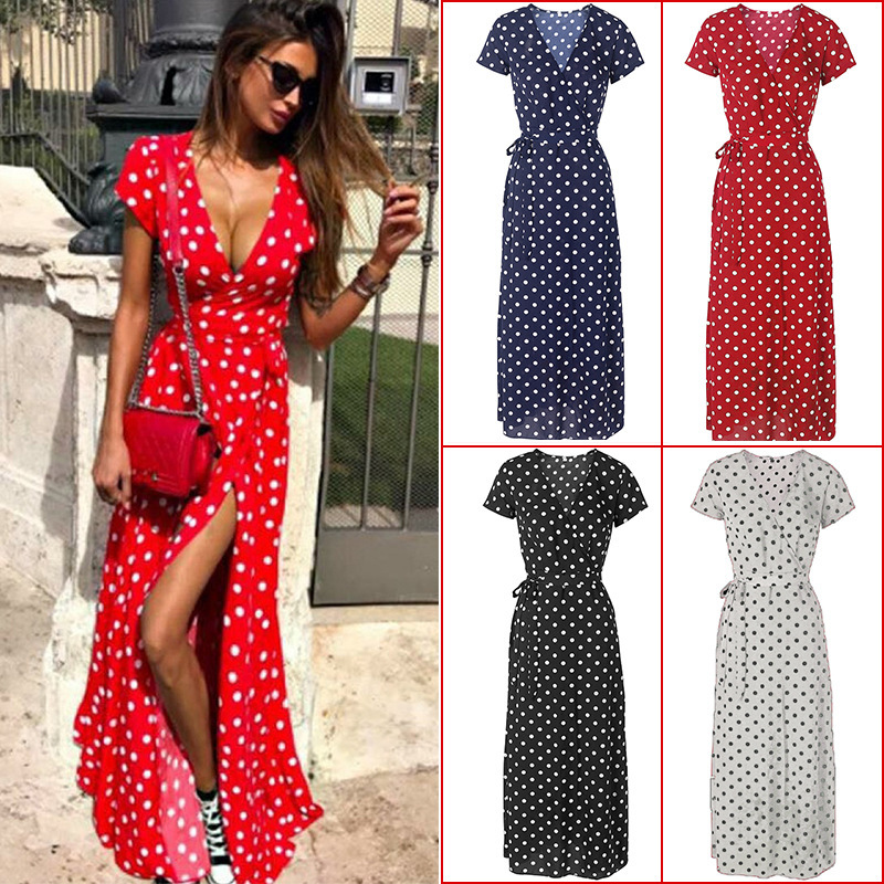 2020 Fashion Summer Women's Dress Boho Holiday Polka Dot Maxi V-Neck Long Shirt Dress Sexy Short Sleeve Red Fashion Long Dress