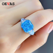 OEVAS 100% 925 Sterling Silver Sparkling High Carbon Diamond 10mm Square Aquamarine Wedding Rings For Women Party Fine Jewelry