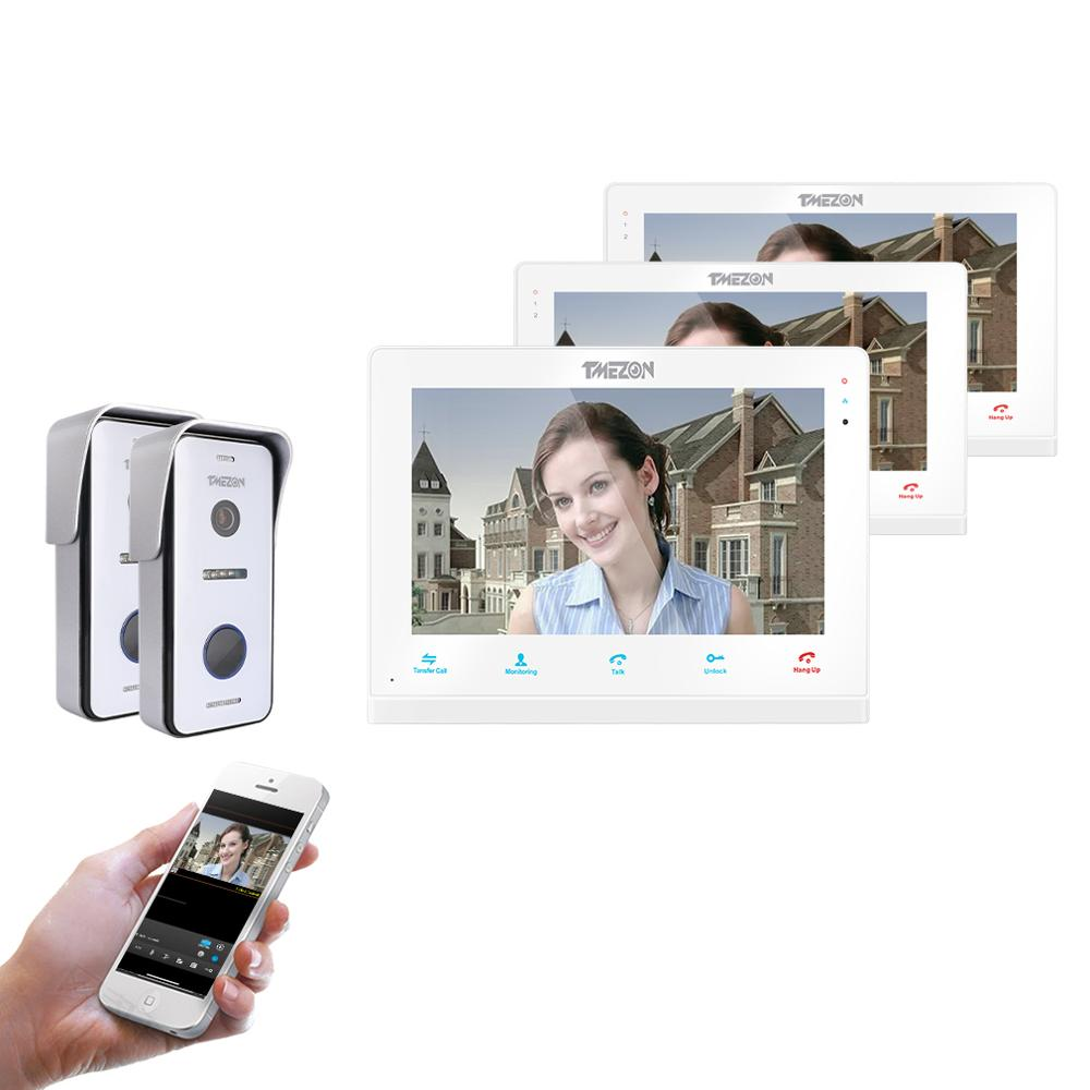 TMEZON  Wireless Wifi Smart IP Video Doorbell Intercom System 10 Inch+2x7 Inch Screen Monitor With 2x720P Wired Doorbell Camera