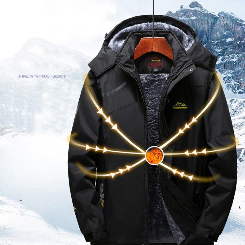 Veste de Ski hommes et femmes imperméable polaire veste de neige manteau thermique pour extérieur coupe-vent Camping randonnée Ski Snowboard veste - 4
