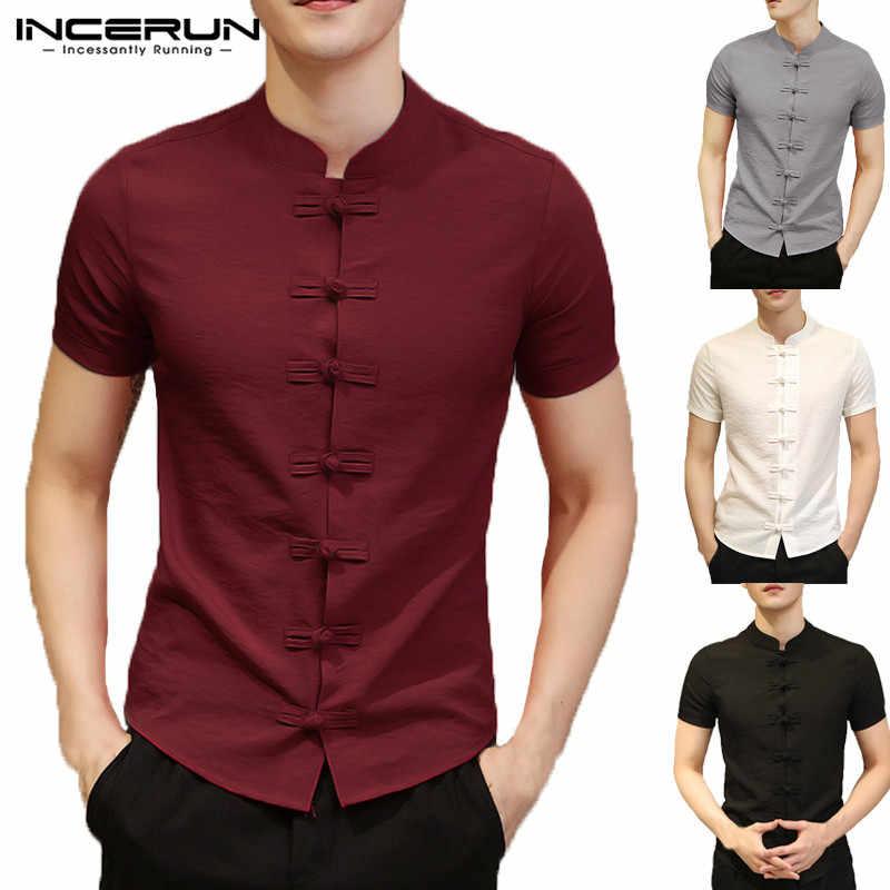 2020 빈티지 남성 셔츠 드레스 짧은 소매 단추 슬림 맞는 여름 중국 스타일 티 탑 남성 의류 Camisas Masculina