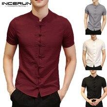 2020 Vintage Mens חולצות שמלה קצר שרוול כפתור למטה Slim Fit קיץ סיני סגנון טי חולצות זכר בגדי Camisas Masculina