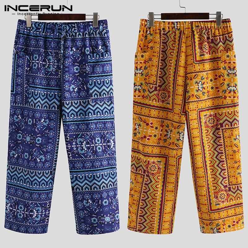 Ethnic Style Men Fashion Printed Elastic Waist Straight Pants Retro Cotton Casual Harem Trousers Men Street Pant Joggers INCERUN