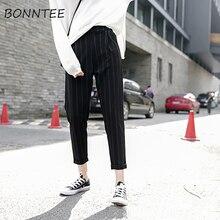 Kadın pantolon çizgili cepler gevşek ince yaz kore Harem pantolon Harajuku bayan elastik bel rahat yeni stil moda günlük