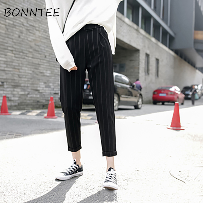 Women Pants Striped Pockets Loose Thin Summer Korean Harem Trousers Harajuku Womens Elastic Waist Casual New Style Fashion Daily