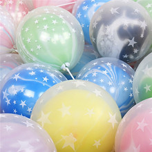 50pcs set New Wedding Decor Party Supplies Double Layer Latex Balloons Clear Stars Inflatable Toys Marble Agate