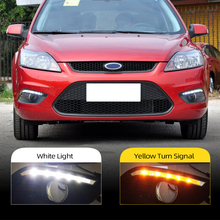 2 adet araba styling Ford Focus Sedan LED DRL gündüz farları günışığı su geçirmez sis kafa beyaz lamba ücretsiz kargo