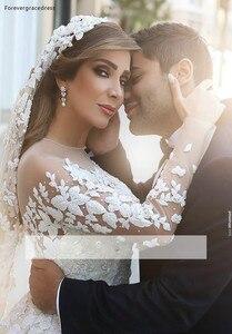 Image 3 - 2019 арабское цельнокроеное прозрачное свадебное платье с длинными рукавами бальное платье Кружевная аппликация для церкви официальное свадебное платье для невесты