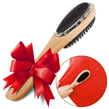 Lint Brush , Clothes Brush and Shoe Horn, Lint Brush for Clothes (Wooden), Professional Suit Brush for Men, Coat Fabric Brush fo 4