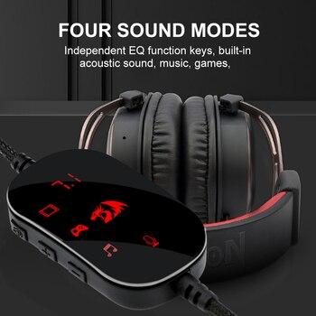 Redragon-auriculares H710 Helios para videojuegos, cascos con micrófono y cancelación de ruido, 7,1 USB Surround, para ordenador, controlador EQ 2