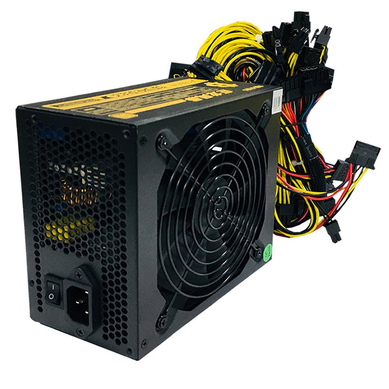 2021 1800W Modular Mining Power Supply for 8 GPU ETH Rig Ethereum Miner 110-240V Active PFC Circuit Power Source