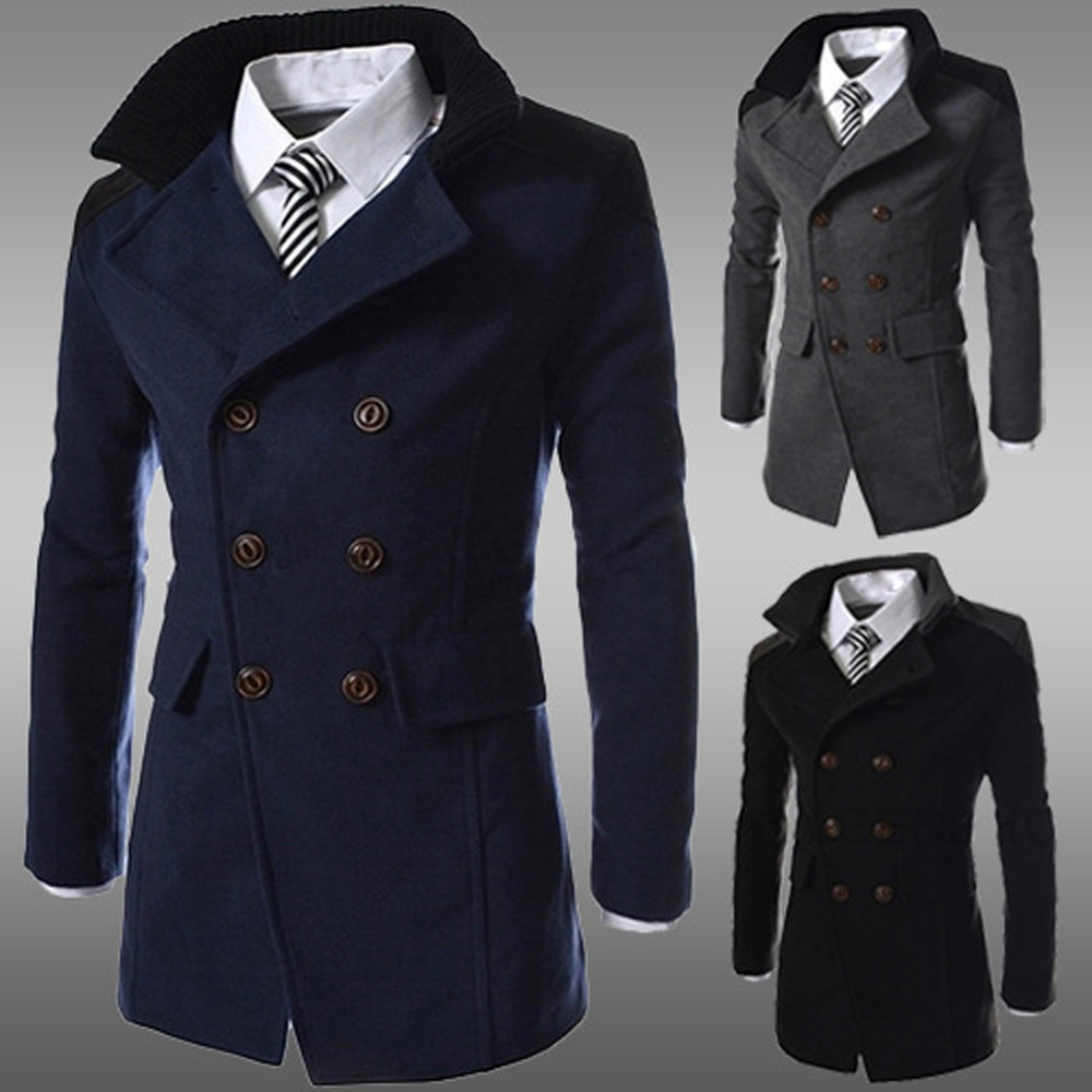 Men Jacket Warm Winter Polyester Trench Long Outwear Patchwork Turn-down Button Smart Overcoat Gray,Black,Navy z1105