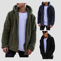 Men Plush And Velvet Warm Hoodies Solid Autumn Casual Long Sections Hooded Sweatshirt Long Sleeve Overcoat Hoodies Outwear S-3XL