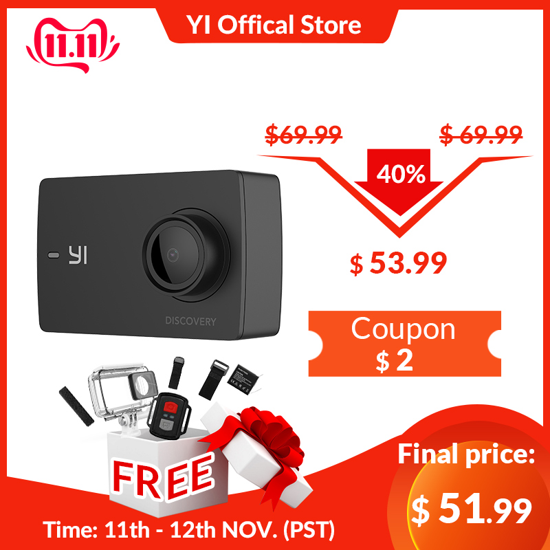 YI Discovery Action Camera 4K 20fps Sports Cam 8MP 16MP with 2.0 Touchscreen Built in Wi Fi 150 Degree Ultra Wide Angle-in Sports & Action Video Camera from Consumer Electronics