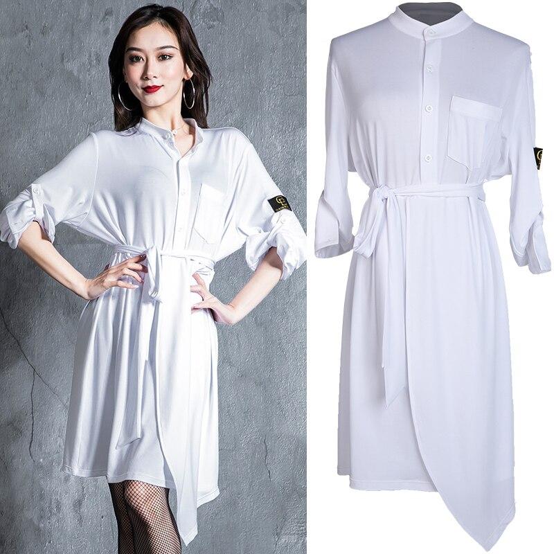 New Latin Dance Dress Women White Dancing Dress 2019 Latin Practice Wear Black Modern Clothing ChaCha Adult Dance Clothes BL2462