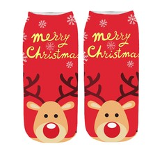 Funny Christmas Home Socks Women 3D Cartoon Crazy Cute Amazing Novelty Print Ankle Socks Calcetines Mujer 2019 New Hot Sale E цена