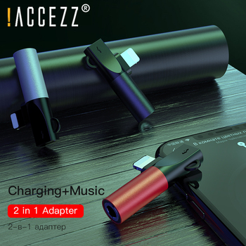 !ACCEZZ For iphone To 3.5mm Earphones 2 in 1 Adapter For iphone 7 8 Plus X XS MAX XR Charging Playing Music Connector Keychain 1