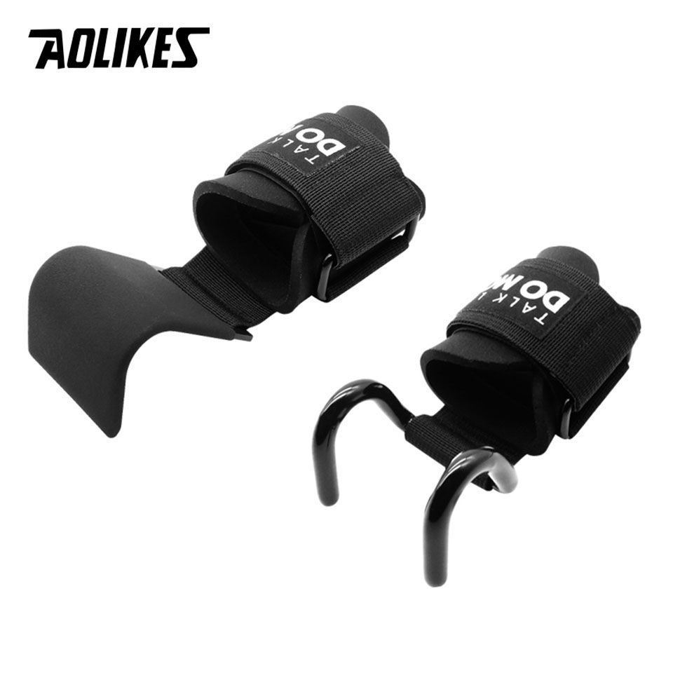 AOLIKES 1 Pair Professional Fitness Steel Weightlifting Hook Wrist Support Hook Non-slip Gym Arm Strength Training Buckle