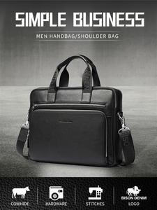 Мужские портфели из натуральной кожи BISON DENIM, деловая сумка через плечо для ноутбука 14 дюймов, N2333-3