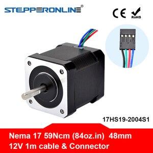 Шаговый электродвигатель Nema 17, 48 мм 42bygh, 2 А (17HS19-2004S1), 4-проводной кабель 1 м для 3D-принтера, мотора CNC XYZ