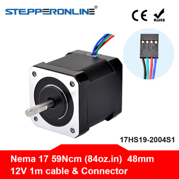 Nema 17 Stepper Motor 48mm 42BYGH Stepping Motor 2A (17HS19-2004S1) Motor 4-lead 1m Cable for 3D Printer CNC XYZ Motor