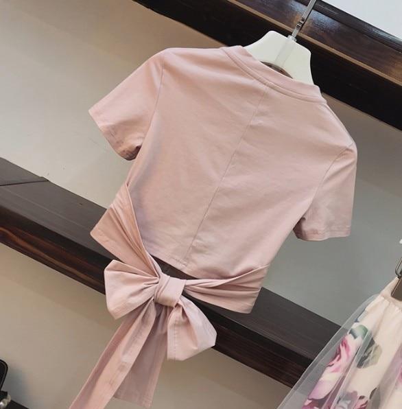 2020 letnia moda damska nieregularny krzyż różowa kokarda T