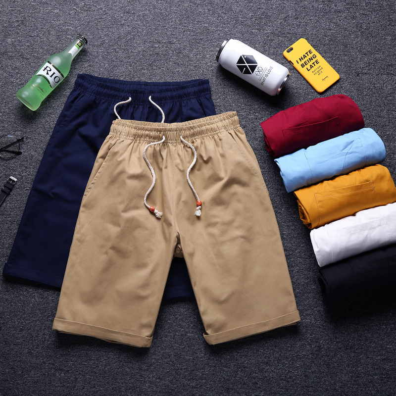 New Style Fashion Man Solid Color Shorts Summer Men Pure Cotton Casual Short Shorts Teenager Beach Shorts