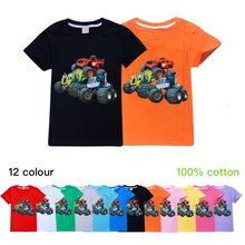 Crianças novas crianças de manga curta t-shirts do bebê meninos meninas topos t dos desenhos animados em chamas velocidade carro monstro máquina verão algodão chothes