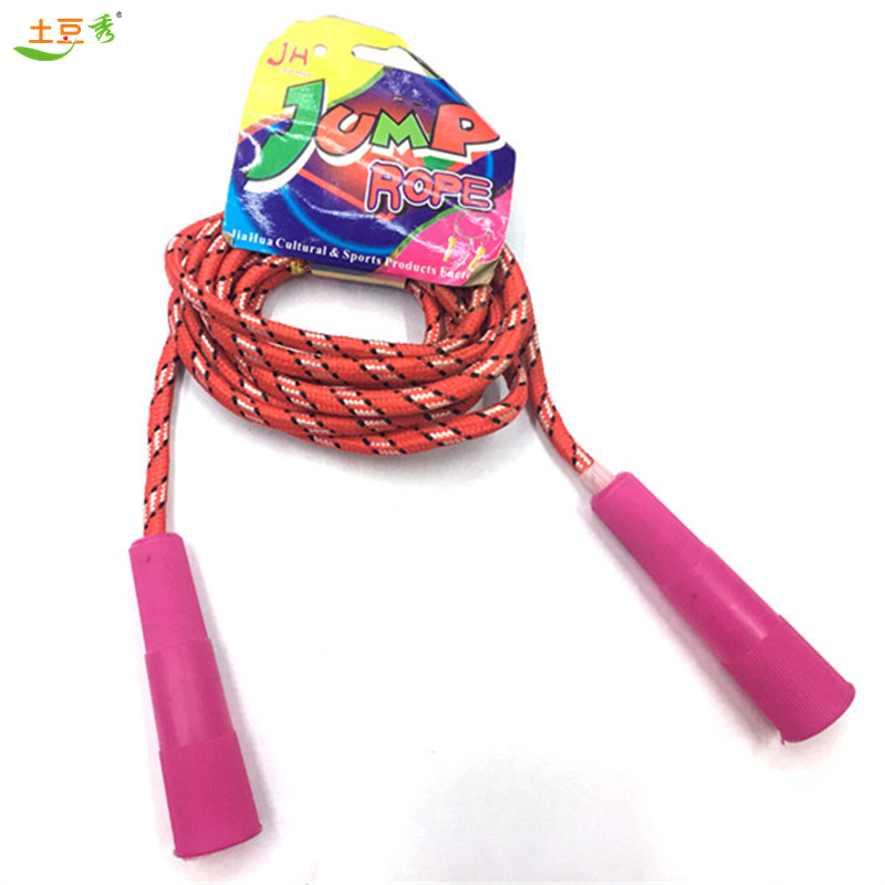Kids Students Hanging Card Jump Rope Rubber Cotton Binder Jump Rope Sports Exercise Plastic PVC Crystal Colorful Weaving Tiaoshe