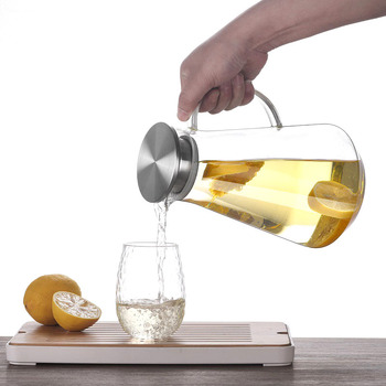 900-1800ML Thickened Glass Big water bottle with Stainless Steel Lid Carafe boiling wate Juice Glass Pitcher Bottle botellas 5