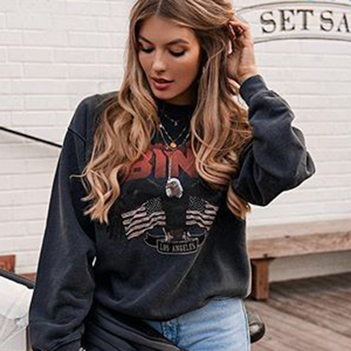 Eagle Letter Print Women Thin Shirt Autumn 2020 O Neck Long Sleeve Contrast Cotton Blusa Fashion Streetwear Women Punk Shirt