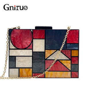 Image 1 - 2020 New brand acrylic patchwork Evening bags Handbags  Vintage Women messenger bags Geometric Pattern Clutches Party Prom purse