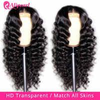 Peluca con cierre de encaje transparente 5x5 HD, cabello humano malayo suelto de ondas profundas para mujer, 180 densidad peluca con encaje pelo AliPearl