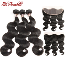 ALI ANNABELLE Malaysian Body Wave Bundles With Frontal 3 Bundles Human Hair Bundles With Frontal Closure Ear To Ear Lace Frontal