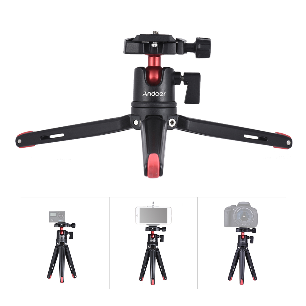 Andoer Mini Handheld Travel Tabletop Tripod Stand  With Ball Head For Canon Nikon Sony DSLR For Huawei Smartphone For GoPro