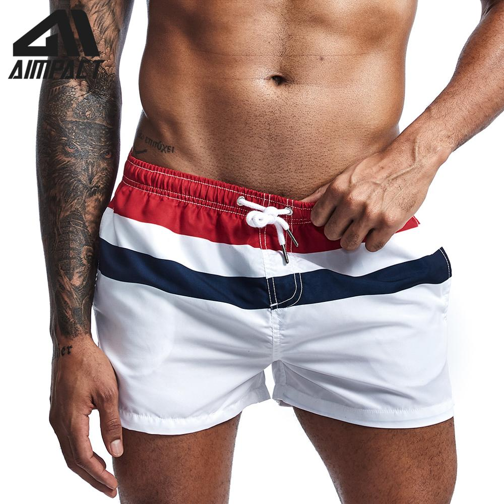 2019 Fashion New Men's   Board     Shorts   Fast Dry Male Swim Trunks Striped Casual Sport Surf Beachwear Hybird   Shorts   AM2212
