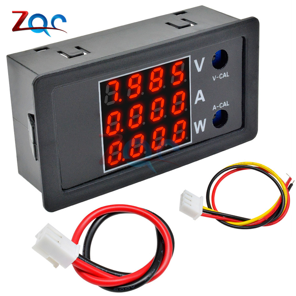 DC 0-100V 10A 1000W LED Digital Voltmeter Ammeter Wattmeter Voltage Current Power Supply Meter Volt Detector Tester Monitor 4bit