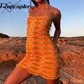 Трикотажный сарафан с принтом Rapcopter y2k, модное мини-платье на тонких бретельках, короткое платье, женское винтажное пляжное облегающее плать...