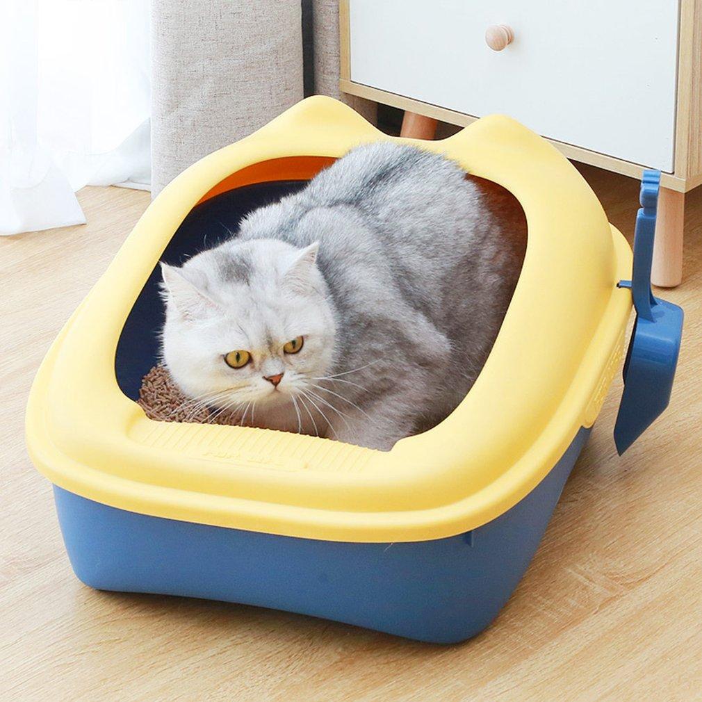 Cat Litter Box Semi-closed Top-in Litter Box Large Space Cat Toilet High-side Splash-proof Pet Supplies