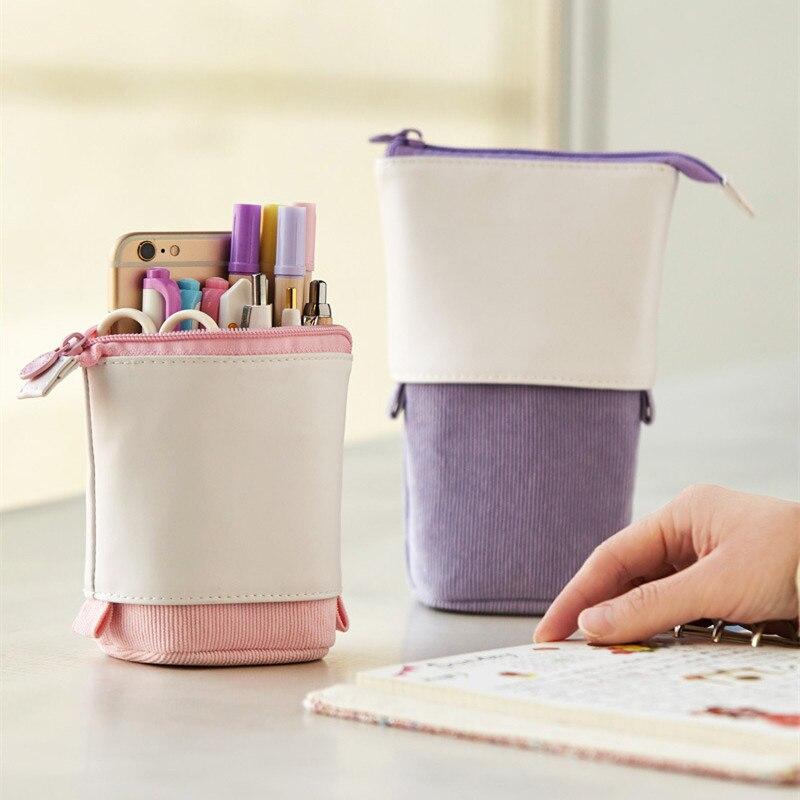 Storage-Bag Pen-Holder Pencil-Case Gifts School Stationery Retractable Creative Cute