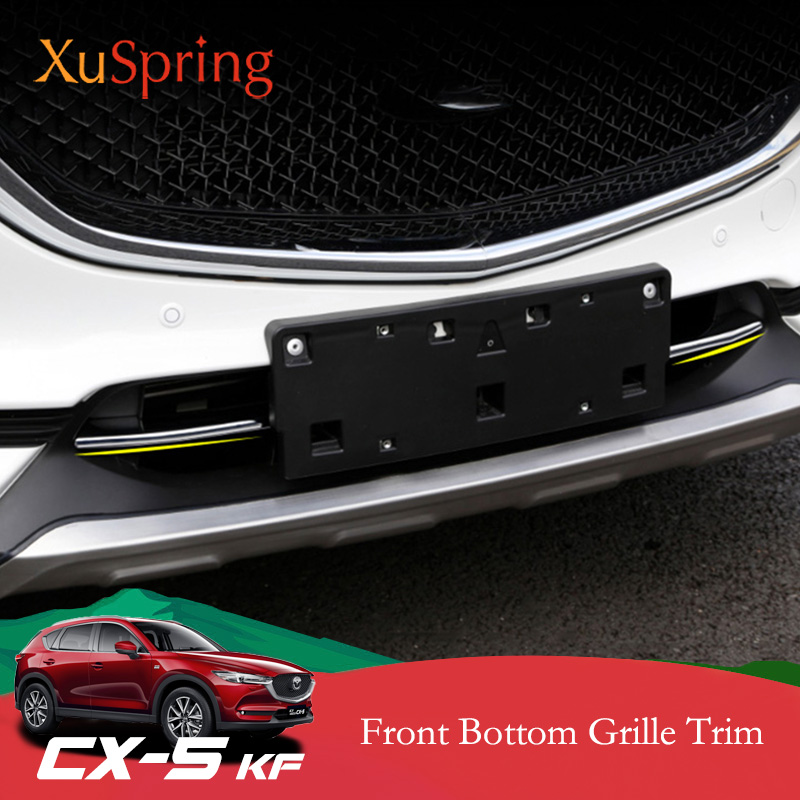 Car Refit Front Hood Billet Grille Grill Mesth Horizontal Stickers Trim Cover Styling For <font><b>Mazda</b></font> CX-5 <font><b>CX5</b></font> 2017 2018 <font><b>2019</b></font> KF image
